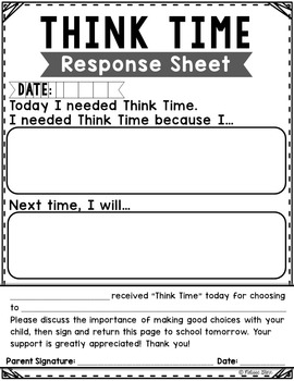 Think Time Response Sheet