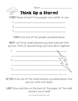 FREEBIE! Think Up a Storm! Brainstorming and Planning a Narrative Piece