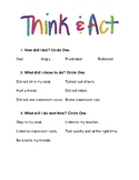 Think and Act Behavior Reflection Sheet - Elementary Student Behavior