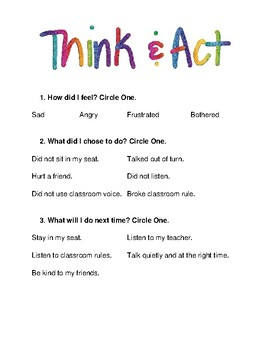 Think and Act Behavior Reflection Sheet - Elementary Student Behavior