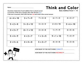 Think and Color (Basic Addition) Fact Analysis