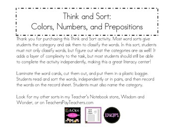 Think and Sort Word Sort: Colors, Numbers, and Preposititions
