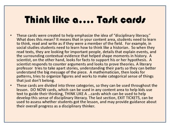 Think as a .....task cards