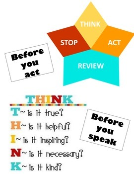 Think before you act and think before you speak poster