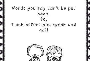 Think before you speak! Respect activities, poems and coloring pages