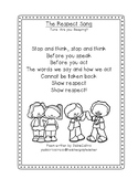 Think before you speak! Respect  poem/coloring page