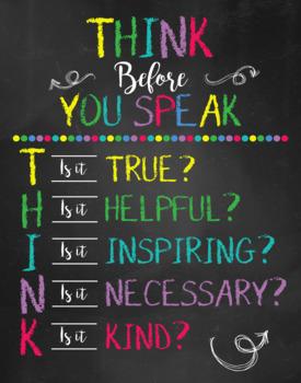 Think before you speak - Teacher Classroom Decor - Personalized Teacher Sign