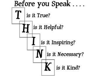 Think before you speak signs