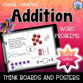 Addition Word Problems - Think Boards - Change Unknown - Sums within 10