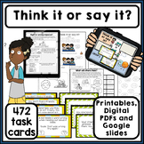 Think it or say it? 472 task cards. How my words affect others. Autism.