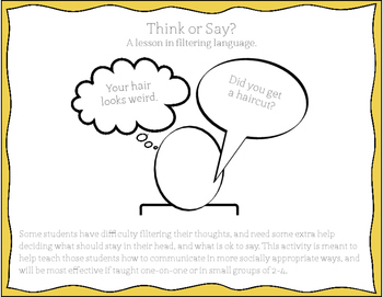 Think or Say? - A lesson in filtering language