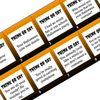 Halloween Speech Language Therapy - Think or Say War Game Companion