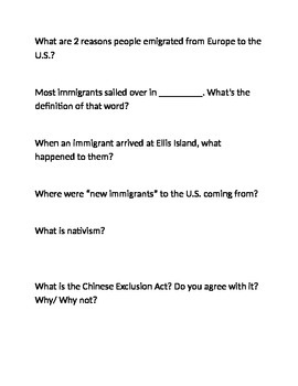 Think sheet on Immigration