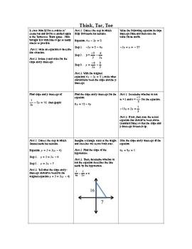 Think, tac, toe for slope-intercept form (part 3)