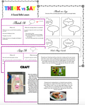 Think vs Say a Social Skills Lesson for Speech Therapy