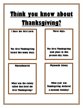 Think you know about Thanksgiving Task Cards