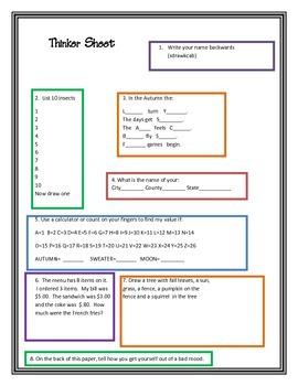 Thinker Sheet