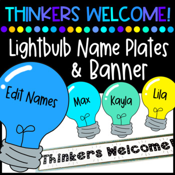 Thinkers Welcome - Banner and Light Bulb Name Plates