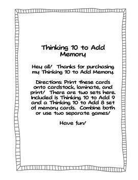 Thinking 10 to Add 9 - Thinking 10 to Add 8