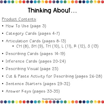 Thinking About... Categories, Articulation, Describing, Inferences & More!