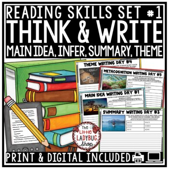 Writing Prompts 4th Grade, 3rd Grade- Reading Skills Inference, Main Idea, Theme