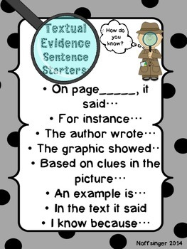 Thinking About the Text: Using Textual Evidence When Responding to Text- Freebie