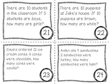 Thinking Addition to Subtract Task Cards