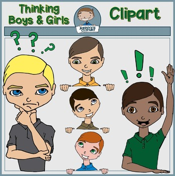 Thinking Boys and Girls Clipart
