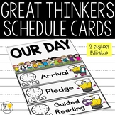 Class Schedule Cards - Editable!: Great Thinkers Classroom Decor