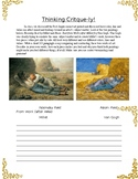 Thinking Critque-ly! Art Critique Worksheet; Van Gogh and Millet.