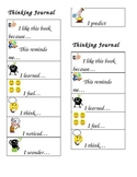 Thinking Journal Reading Strategies Prompts Bookmark for K-12