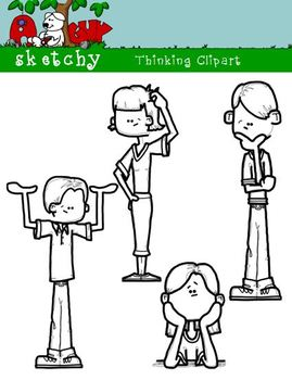 Thinking Kids / People Fun Clipart / Graphics 300dpi Color Grayscale Black Lined