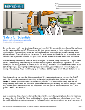 Intro to Thinking Like a Scientist, Safety for Scientists - Engaging Science