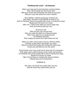 Thinking Outloud - Ed Sheeran listening activity