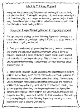 Thinking Paper:  Teaching children how to think, not what to think