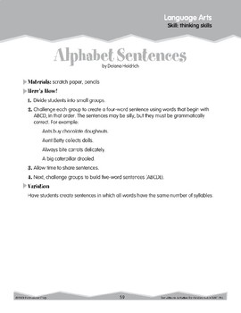 Thinking Skills: Analogies and Alphabet Sentences (Ten-Minute Activities)