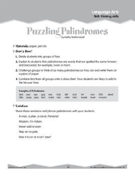 Thinking Skills: Nicknames, Palindromes, Letter Sums (Ten-Minute Activities)