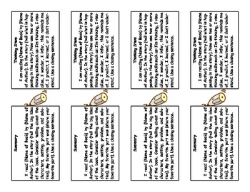 Thinking Stem/Summary Bookmarks with Skills on other side