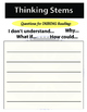 Thinking Stems - Questioning student/class response sheets