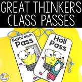 Hall Passes - Editable - Great Thinkers Classroom Decor