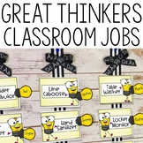 Classroom Job Cards- Editable! Great Thinkers Classroom Decor