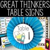Table Signs - Editable Great Thinkers Classroom Decor
