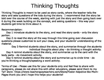 Thinking Thoughts Social and Classroom Skills Story Cards