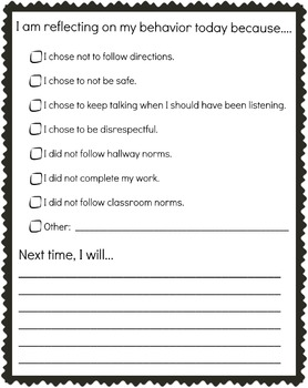 Thinking Time Behavior Checklist