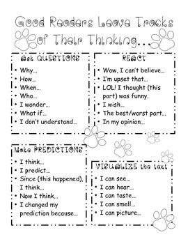Thinking Tracks Sentence Starters