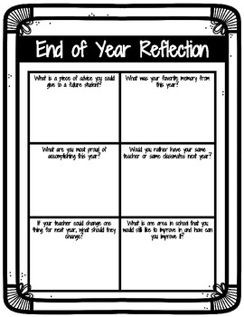 End of the Year Reflection- Creative and Critical Thinking Activities