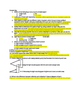 Thinking about light worksheet