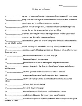 Thinking and Intelligence Quiz or Worksheet for Psychology