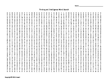 Thinking and Intelligence Vocabulary Word Search for Psychology