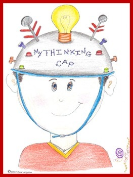 Thinking cap graphic poster cards